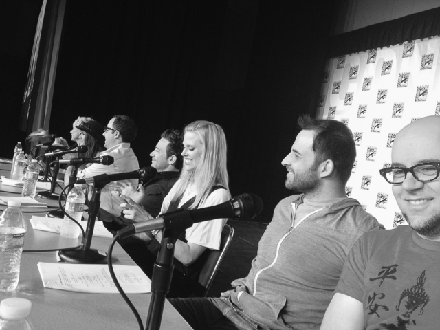 Last year, we had our first panel in Ballroom 20, which holds around 5,000 people.  Photo by Bryan, who was sitting next to me. Behind me are Joaquim Dos Santos, Janet Varney, David Faustino, PJ Byrne, Seychelle Gabriel, and Andrea Romano